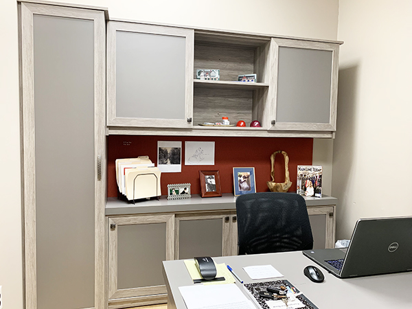 Custom home office with cabinets and laptop on desk