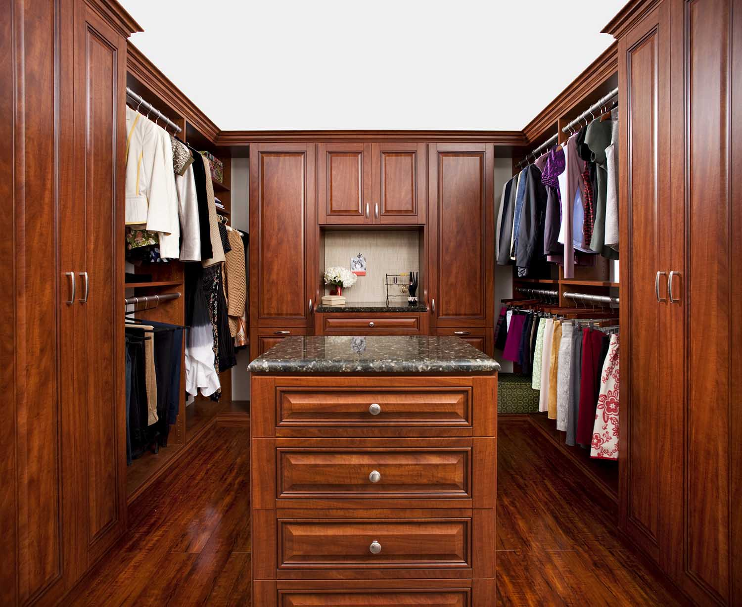 Her customized walk-in closet with double hanging rods