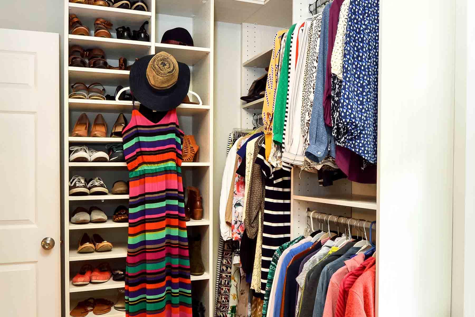 Closet maximizing storage with double hanging