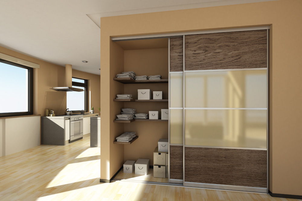 Modern and stylish sliding doors on closet in studio