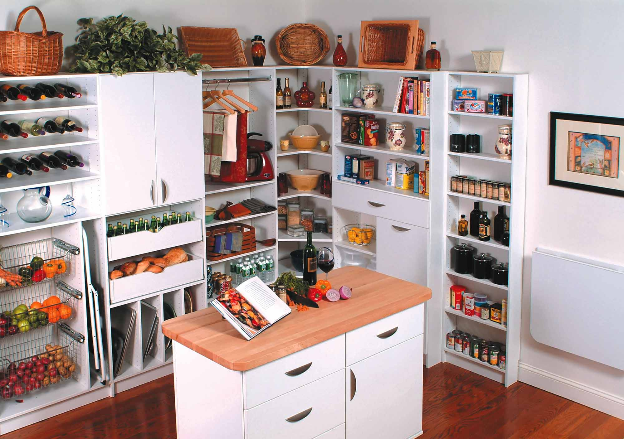 Organized walk-in pantry with center island