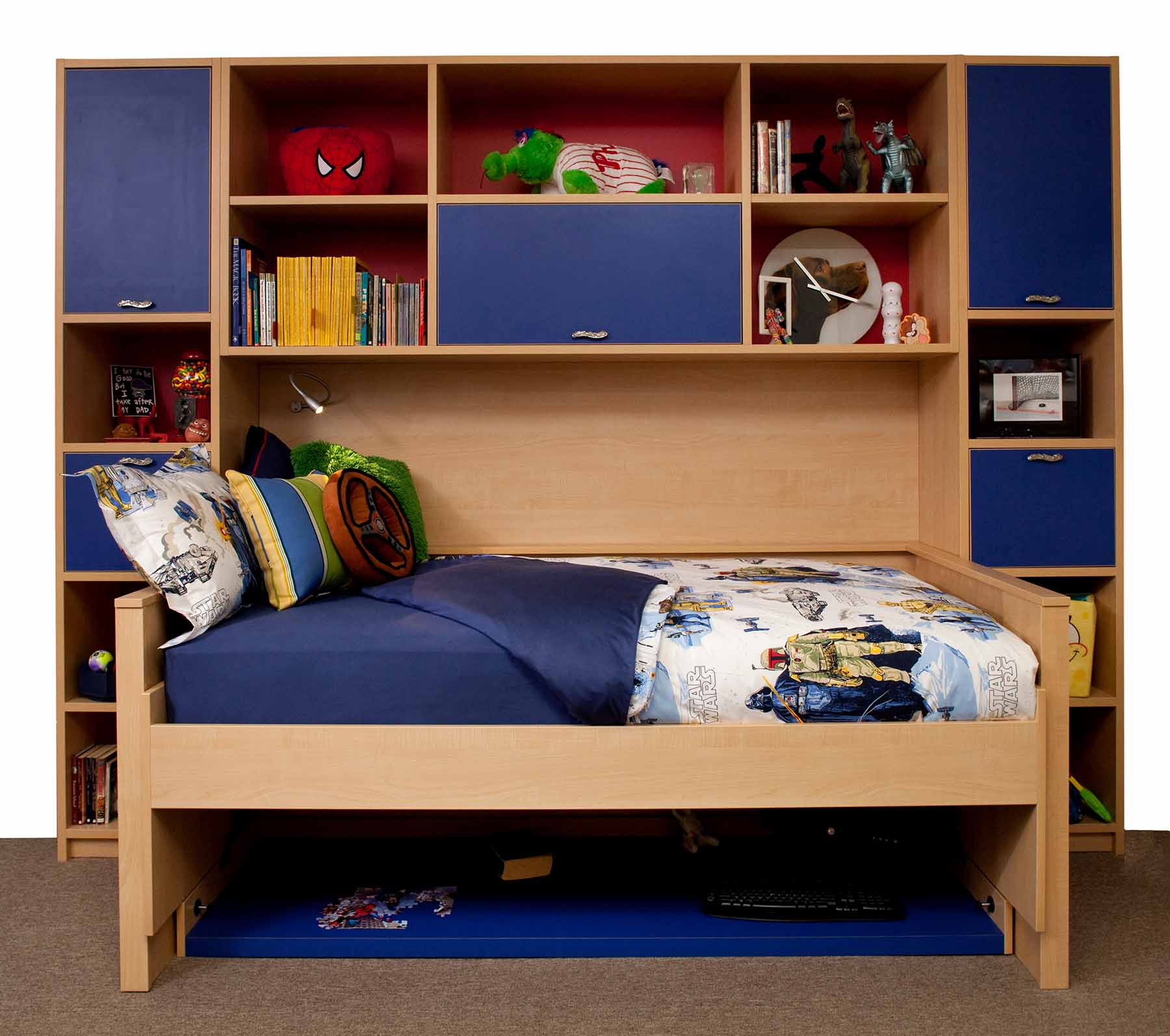 Hidden bed with organized compartments in playroom