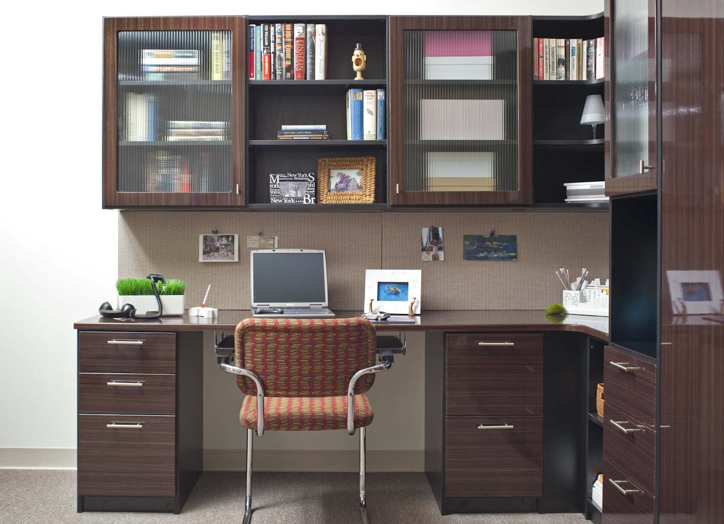 Organized home office with cabinets