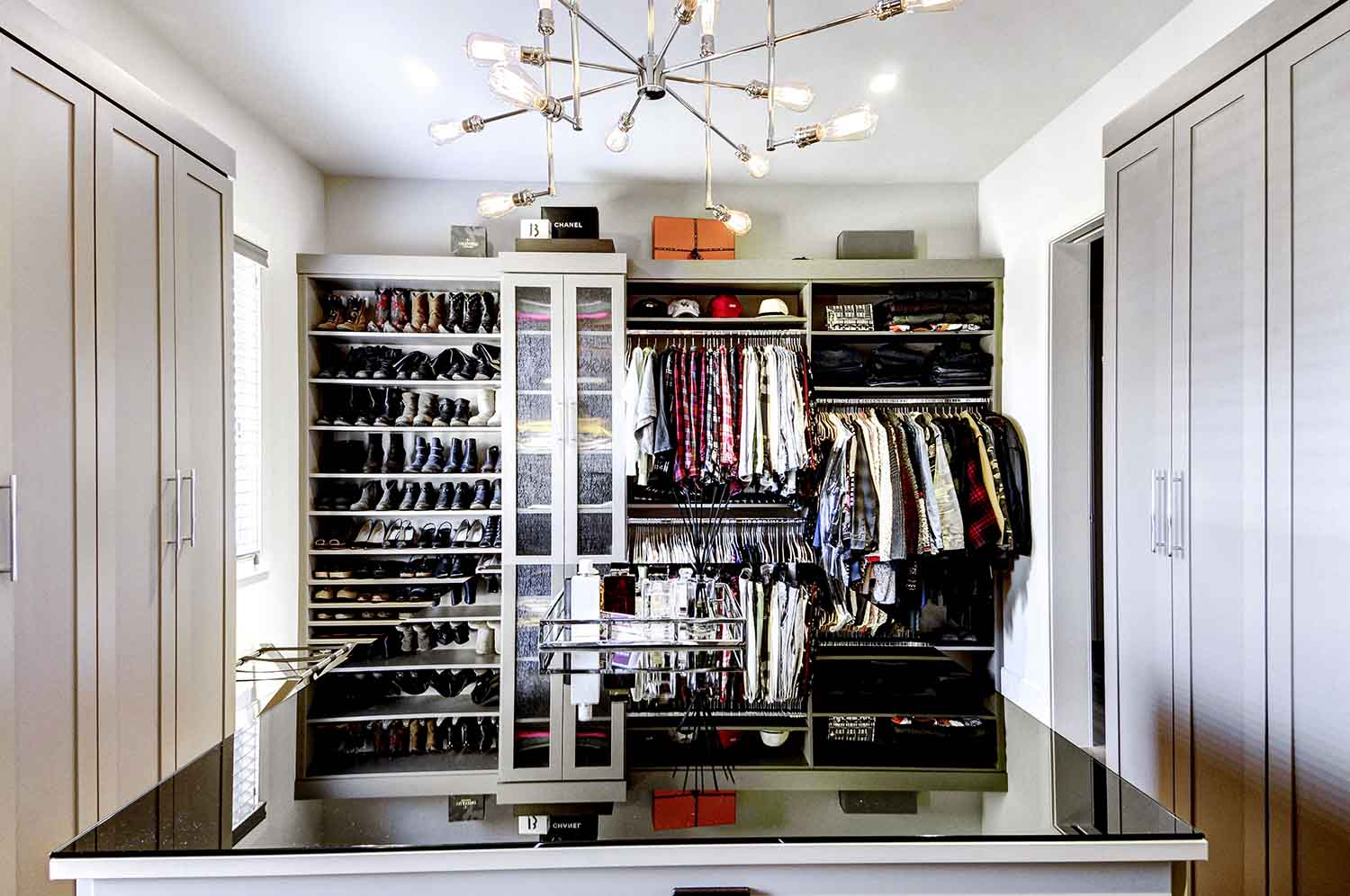 Custom closet design with center island