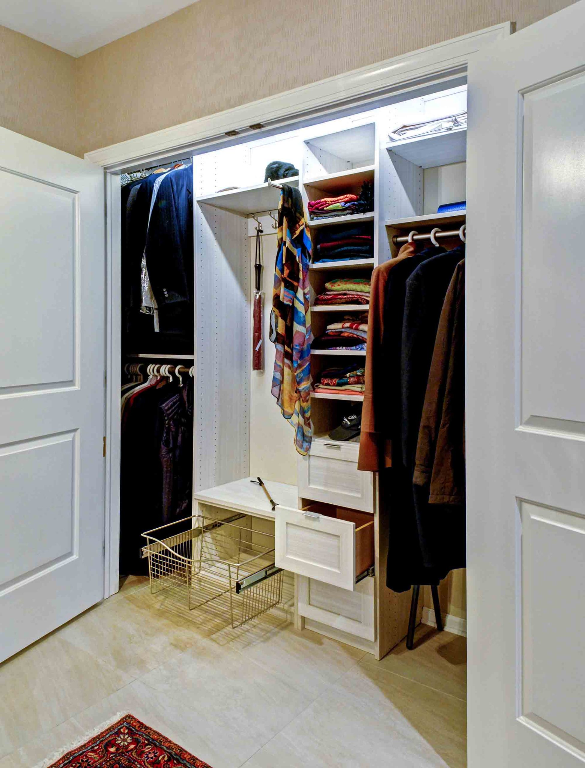 Organized reach in closet with space maximized