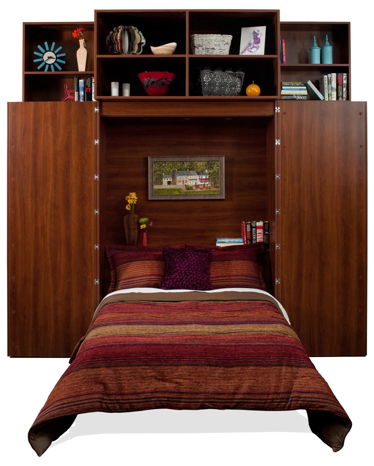 Murphy bed open inside a bookcase