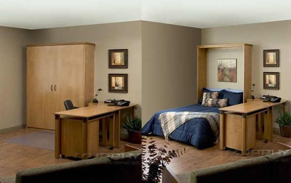Murphy beds open and closed inside custom built wood cabinets
