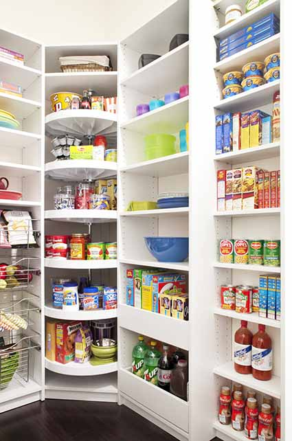 Custom kitchen pantry design with lazy susan