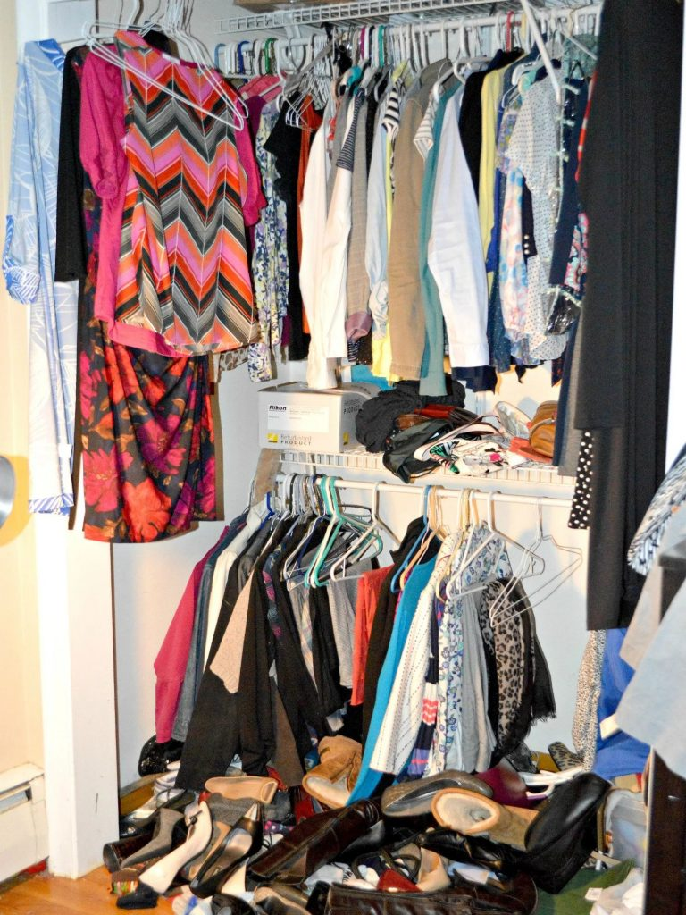Disorganized closet and shoes
