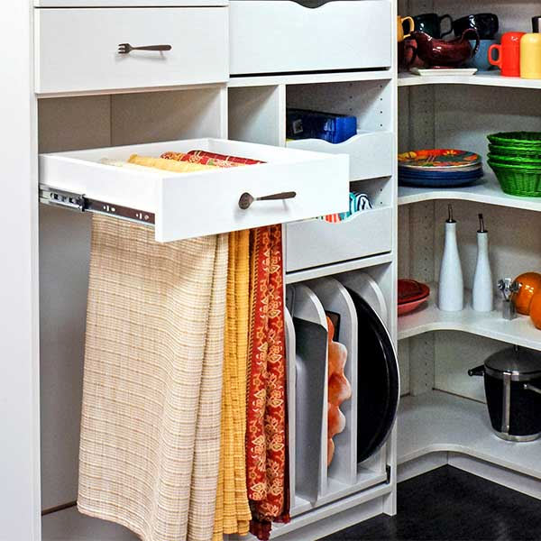Featured Design Custom Walk in Pantry   Slide Out Tablecloth Storage