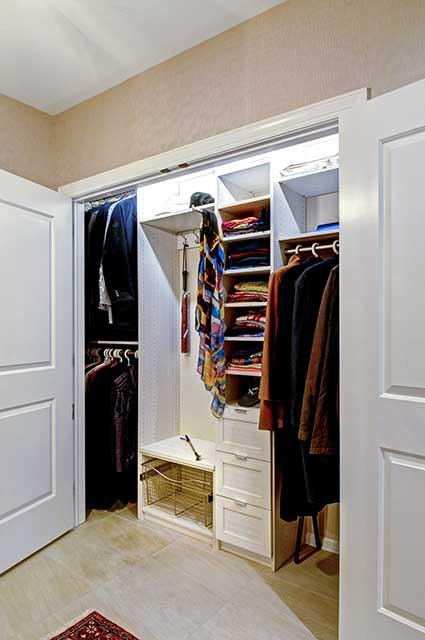 Custom reach in closet system