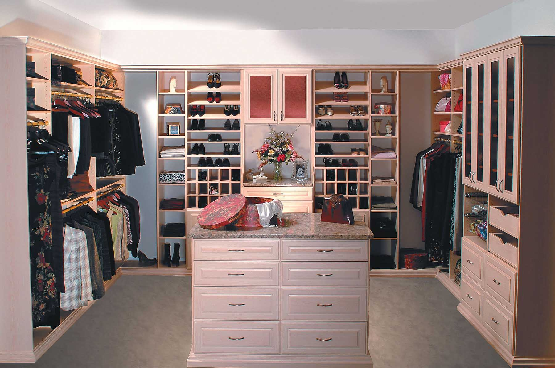 Women's closet organized for morning routine