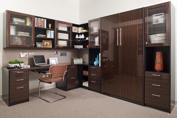 Murphy bed office with custom cabinets