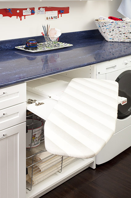 Laundry Room design With Fold Out Ironing Board