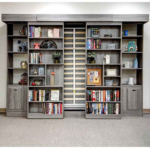 Sliding panel Murphy bed with library bookshelves