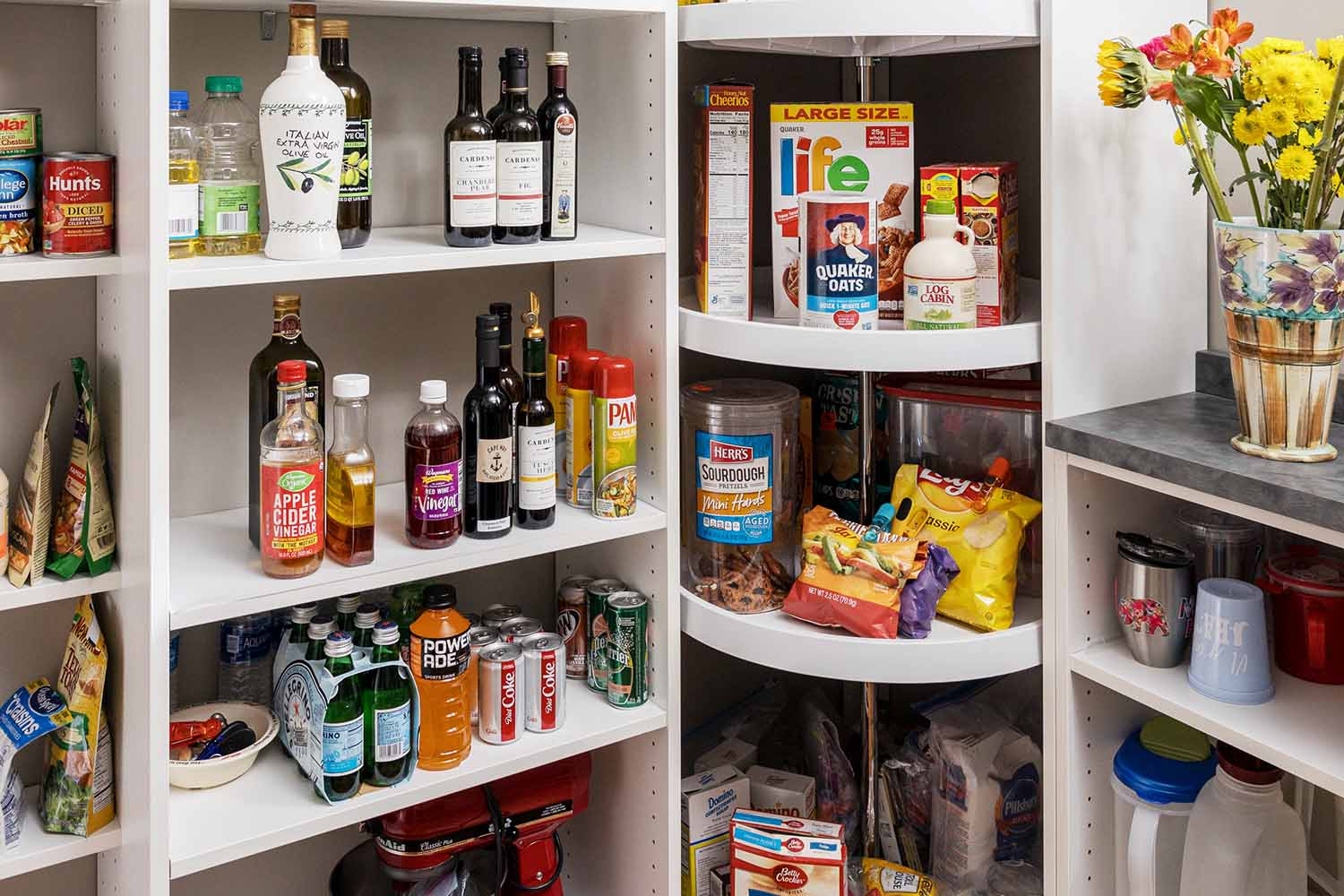 Organized pantry with lazy susan