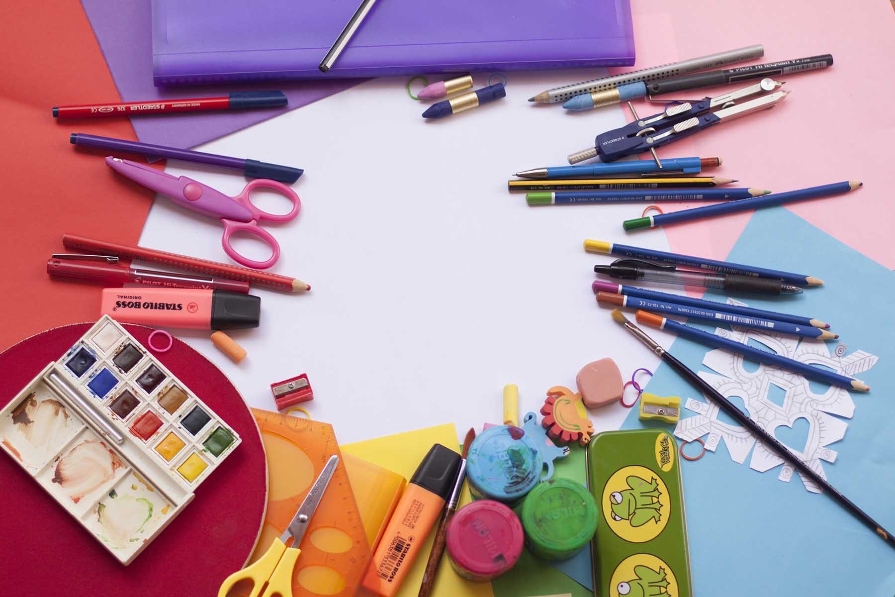 School supplies disorganized on table