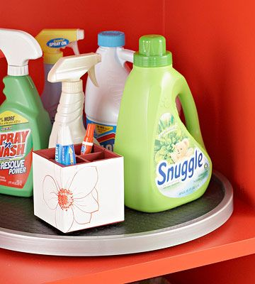 Laundry room lazy susan with cleaning supplies
