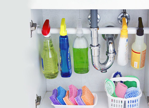 Additional cleaning storage and supplies under the sink