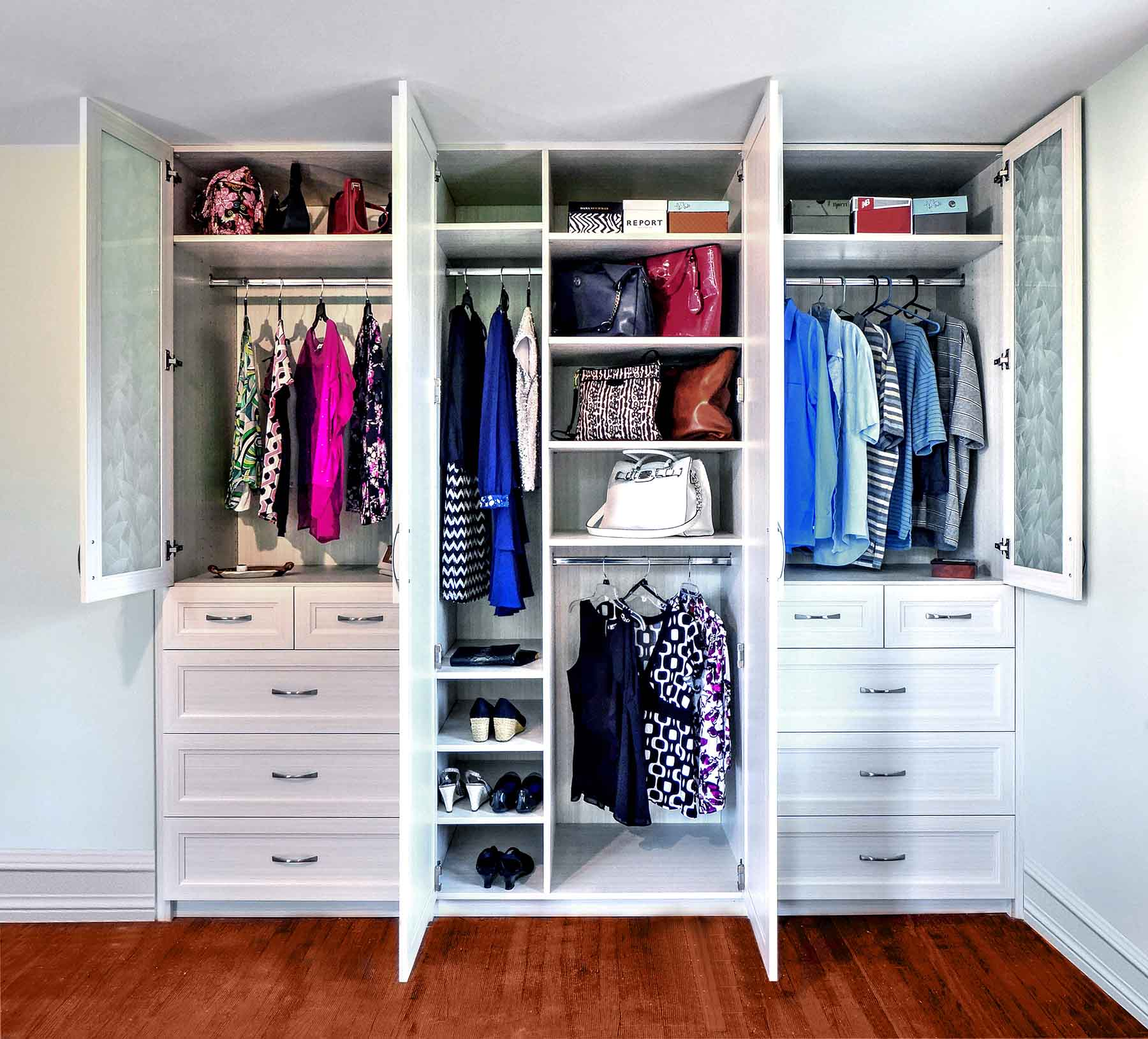 Custom wardrobe closet with ample storage
