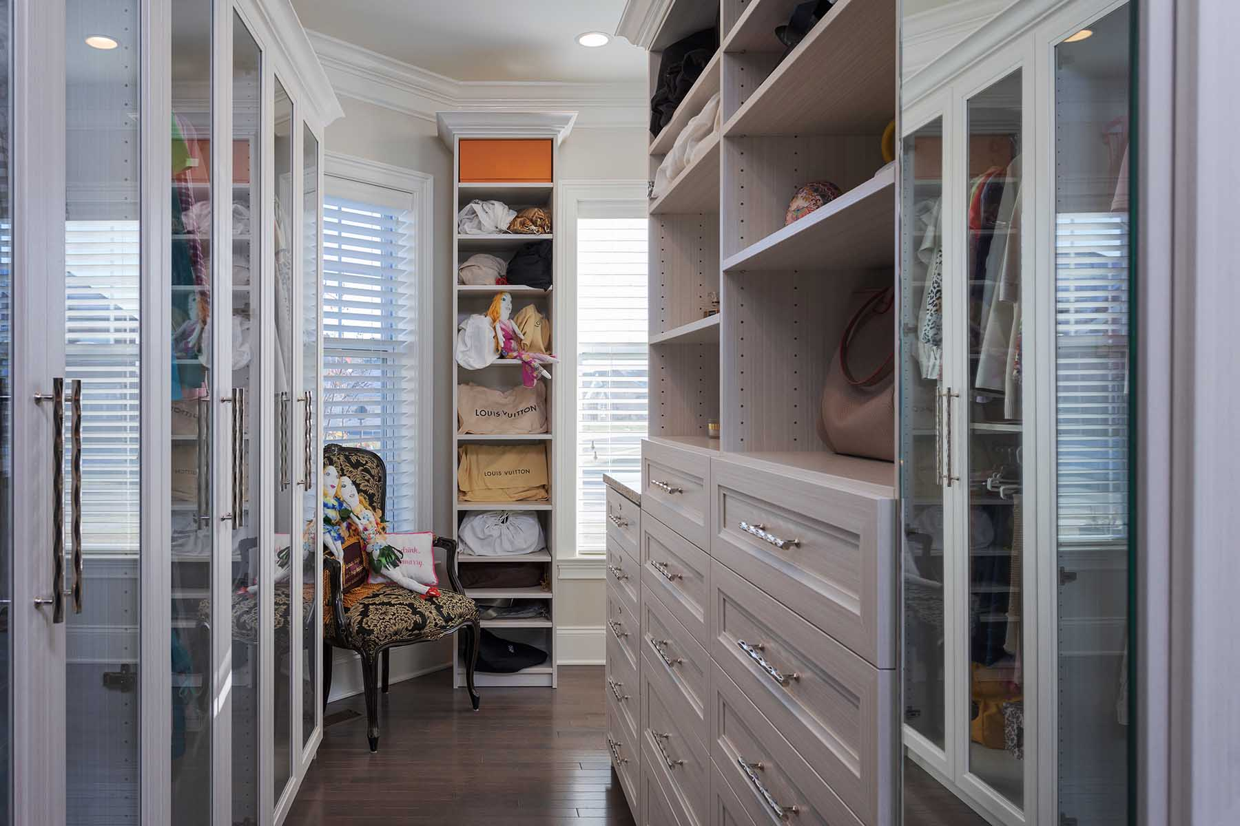 Decluttered and organized walk-in closet
