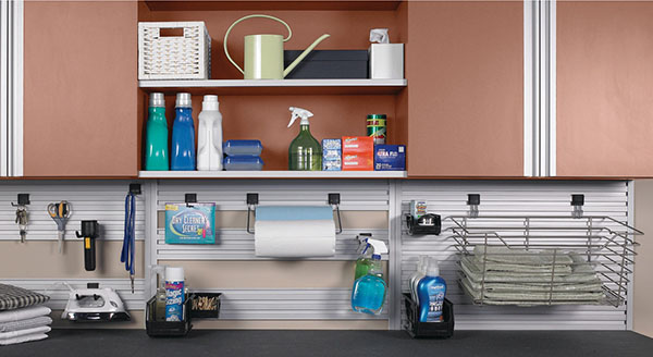 cleaning supplies on counter space in laundry room