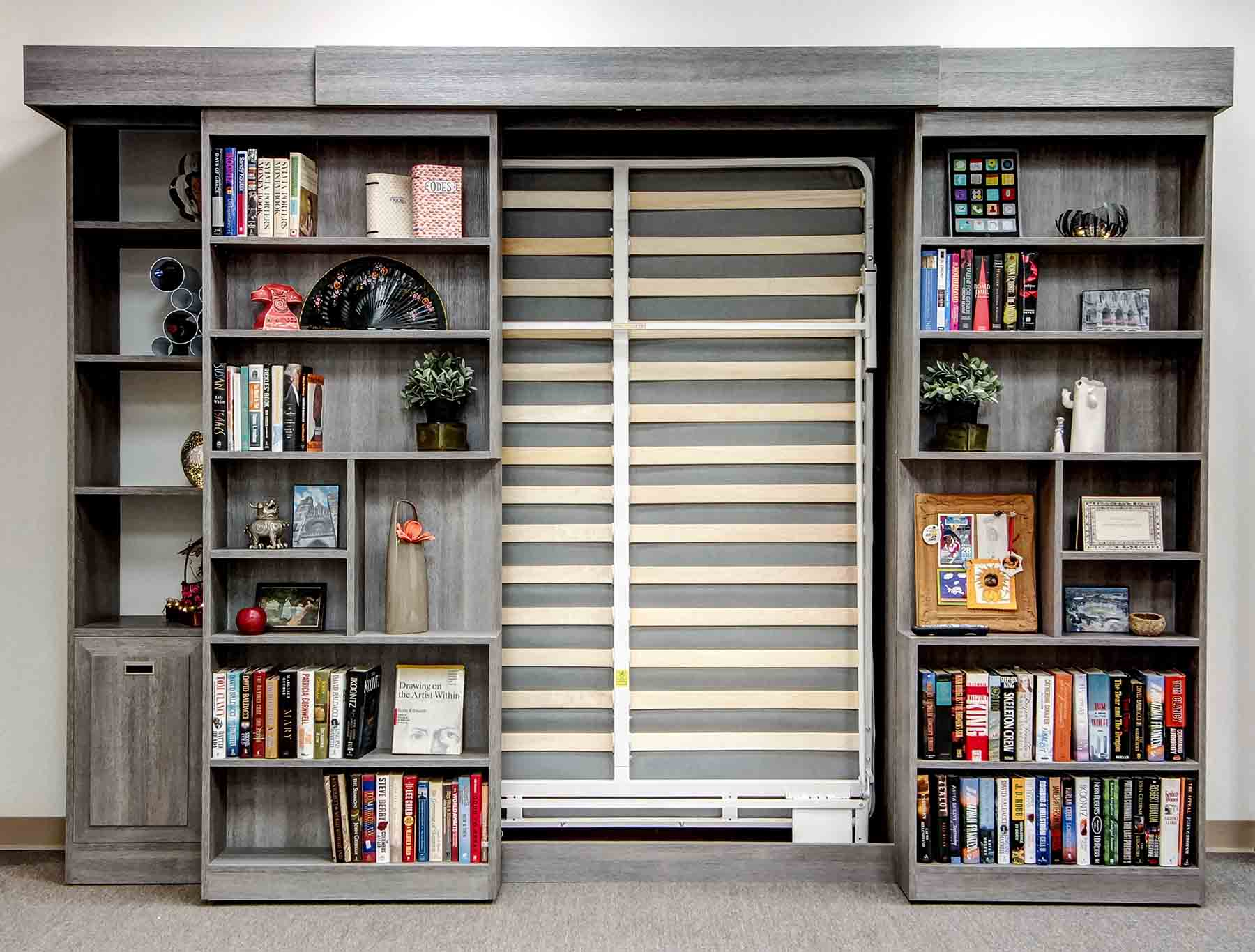 Sliding Bookcase Murphy Bed