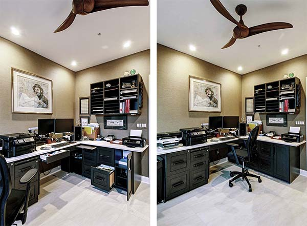 Black and white colored home office with recess lighting