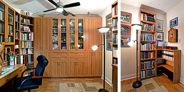 Home Office with wood finish and matching cabinets