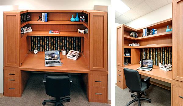 Light wood home office cubicle