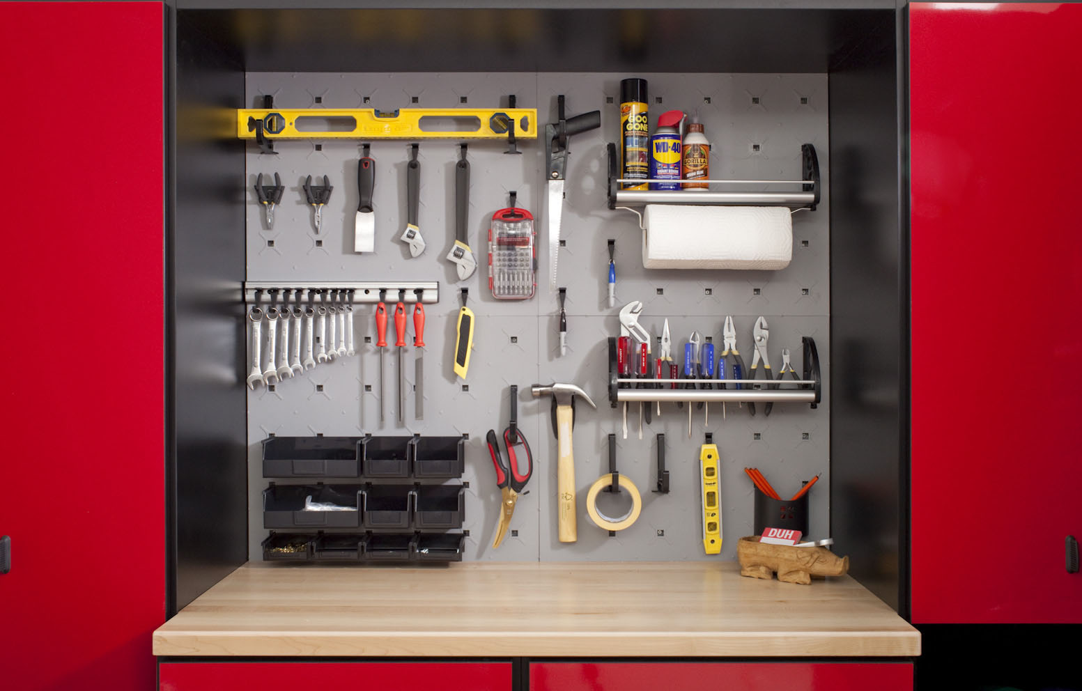Garage tools organized with wall system
