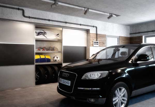 Garage organized with sliding doors