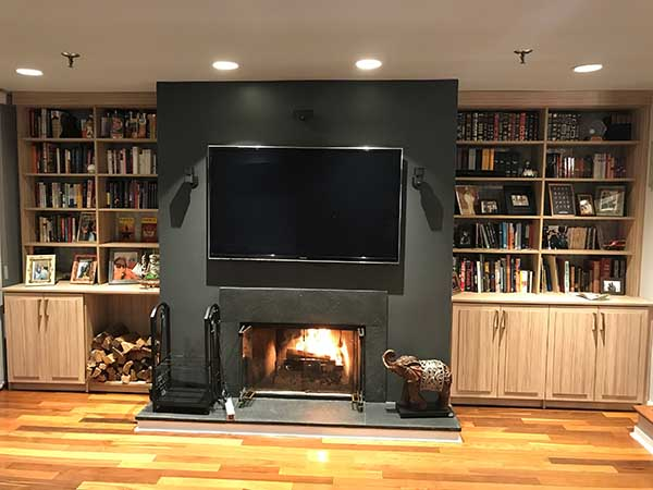 Decluttered wall unit and media center with fireplace