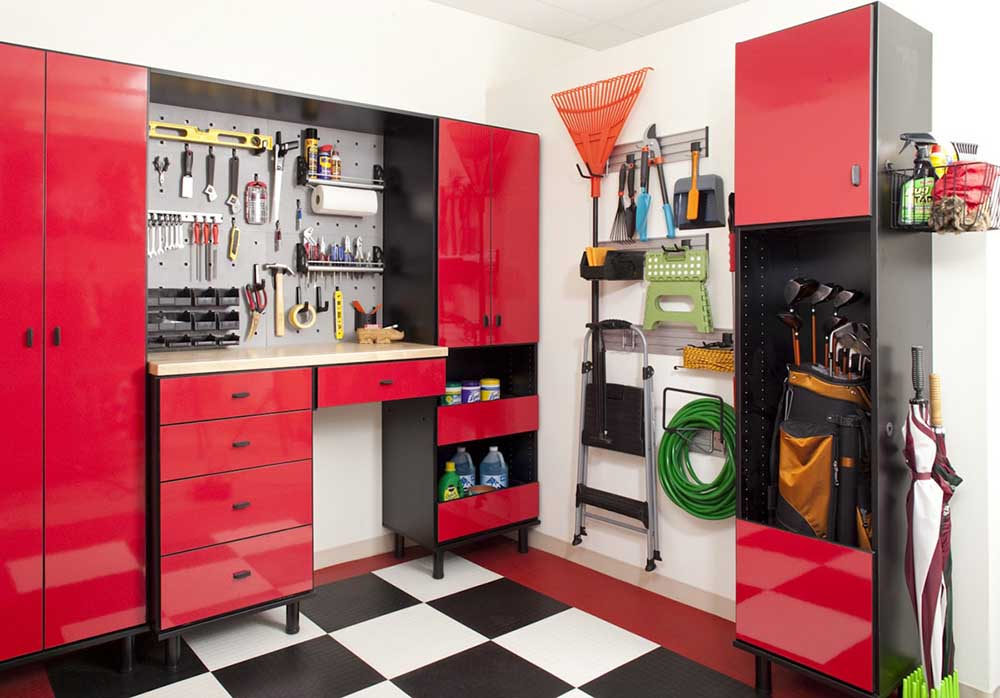 Organized garage system with tools and outdoor equipment neatly displayed