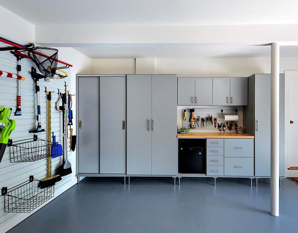 Garage storage cabinets and organized wall system