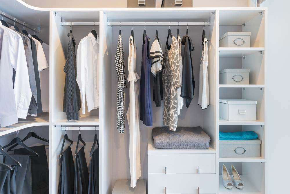 Closet organized in home