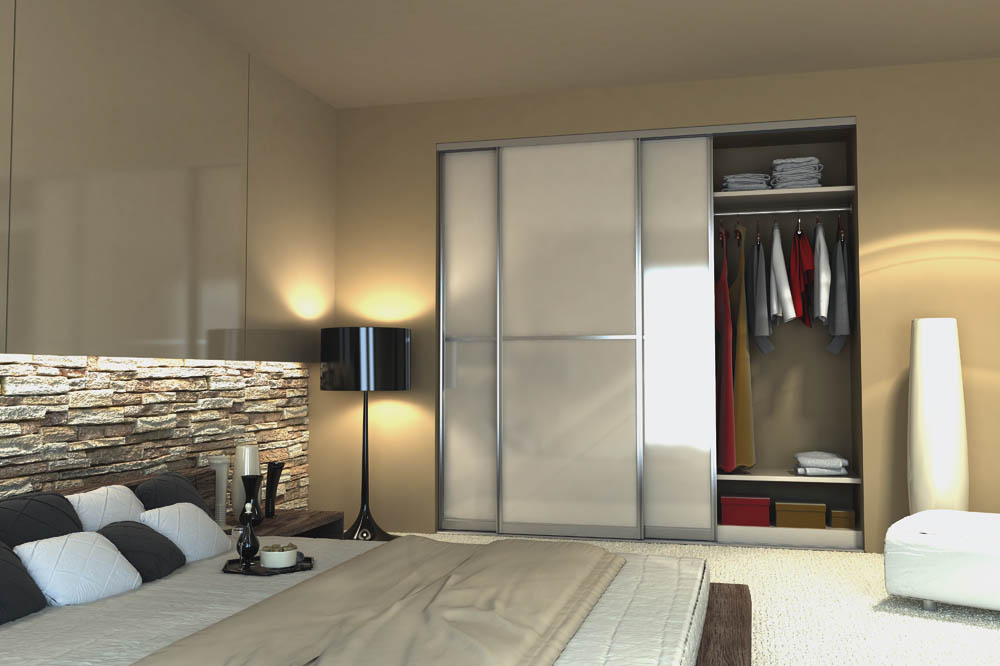 Beautiful sliding glass doors on bedroom closet