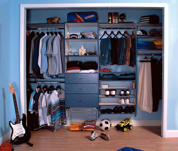 Boys reach in closet with custom storage solutions