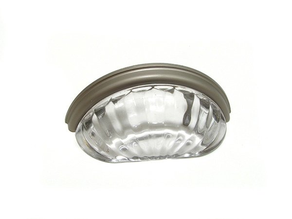 Clamshell Scoop, Glass/Satin Nickel, 76mm