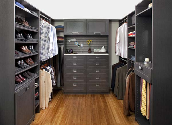 Walk-in closet with a variety of storage solutions