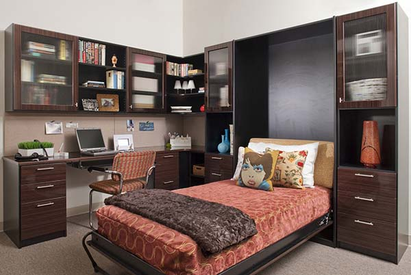 Organized office with Murphy bed open