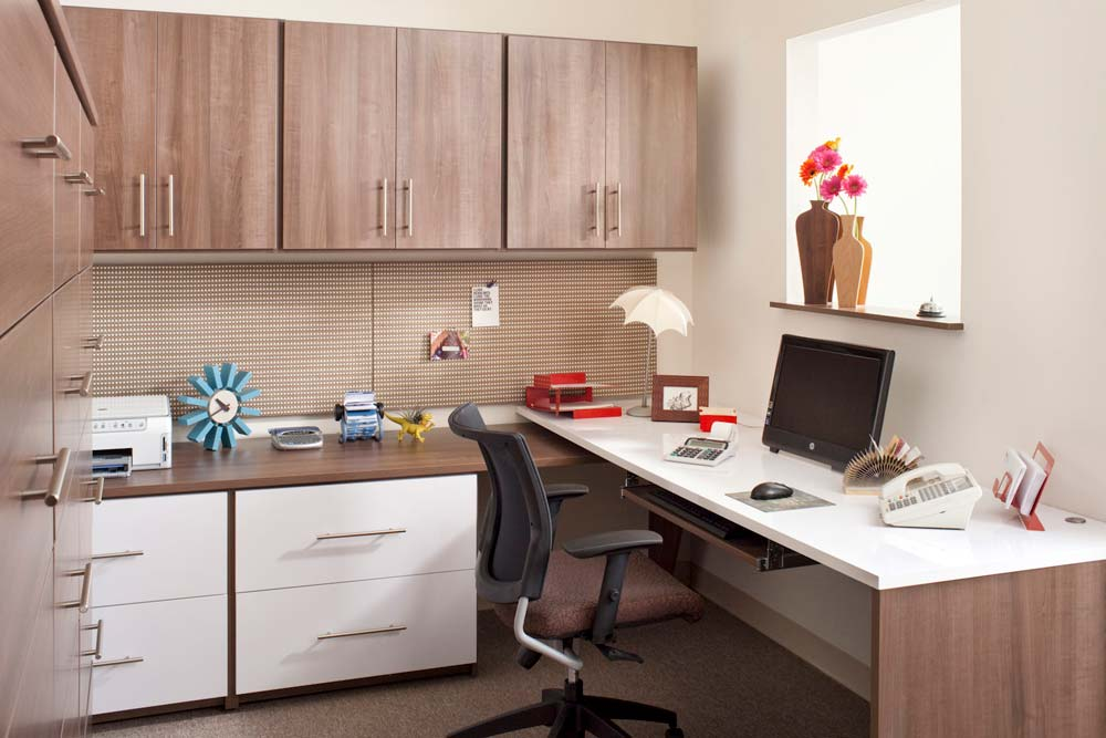 Commerical office space with custom furniture cabinets and desk