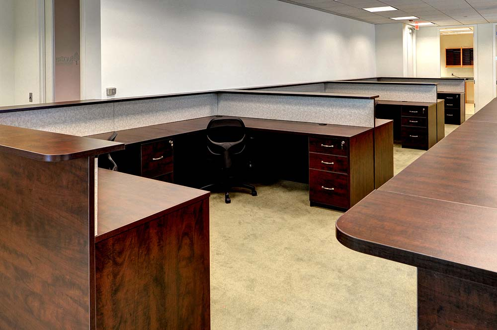 Commercial office space with custom built cubicles