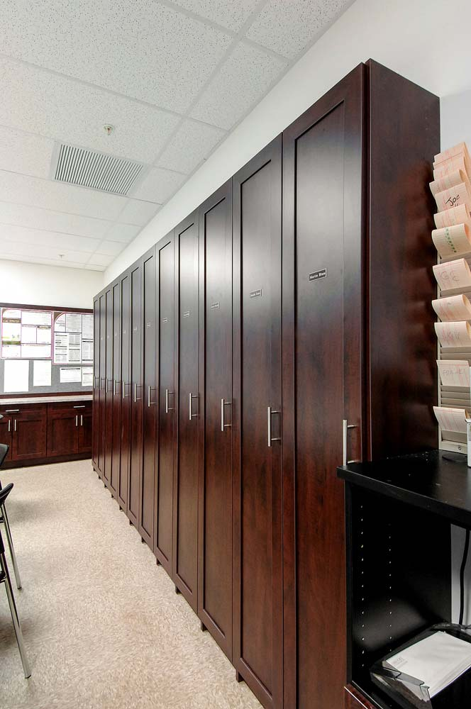 Custom built matching lockers in commerical office space
