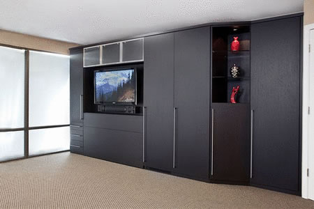 Zoom room bed open with built in entertainment center