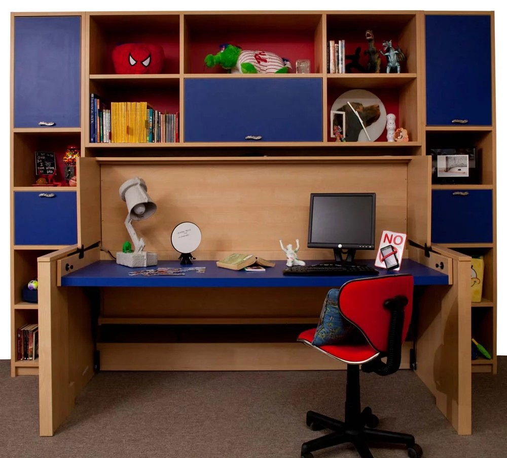 Space saving bed transformed into a desk unit