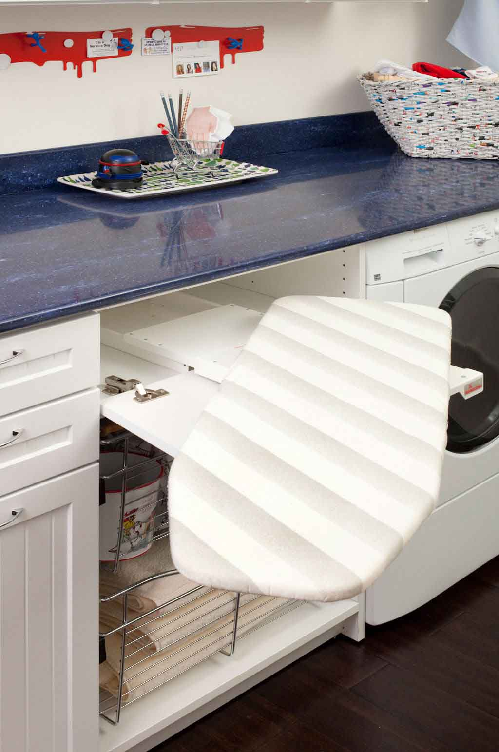 fold out ironing board in laundry room closet