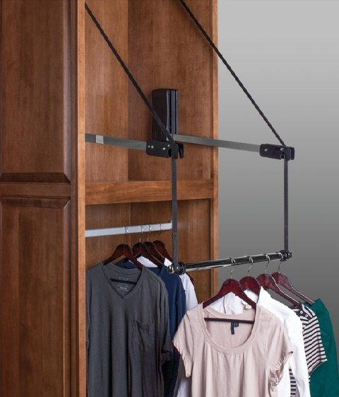 Automated Pull Down Closet Rod with Extension
