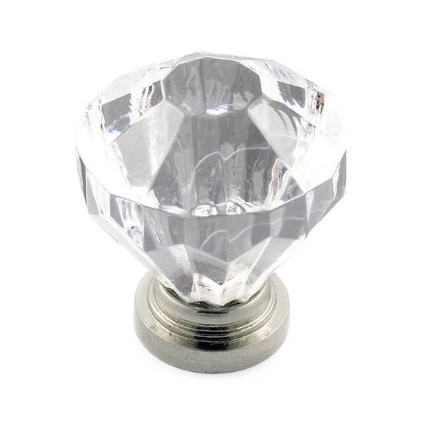 Solitaire Knob, Acrylic/Satin Nickel