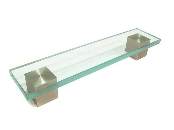 Rectangle Pull, Glass/Satin Nickel, 160mm